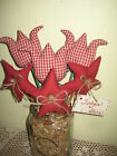 Americana Red check Country tulips stars fillers handmade 4th of July Home Decor
