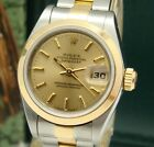 ROLEX WOMENS DATEJUST SS & 18K CHAMPAGNE DIAL WATCH 69163