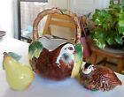 Fitz & Floyd Partridge In A Pear Tree Ceramic Basket, Salt & Pepper Shakers 1991