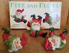 Fitz and Floyd Holiday Elf Tumbling Elves Old World Set of 3 Playful collectible