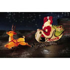 CHRISTMAS SANTA SLEIGH WITH REINDEER SLED BLOW MOLD YARD DECOR ROOF TOP NEW