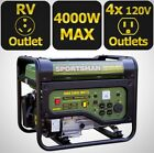 Portable Generator Gasoline Powered RV Outlet 4,000-Watt Camping Power New