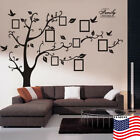 US Family Tree Bird Wall Sticker Picture Photo Frame Removable Room Decal Black