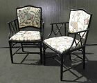 Pair Vintage Chinese Chippendale Black Bamboo Style ACCENT CHAIRS Suzani Fabric