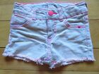 Cute Girls Cherokee White Hot Pink Stitches Jean Shorts Size XS Adjustable Waist