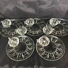 Vintage Clear Glass Snack Plates with Cups Thumbprint and Stars Design