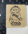 Girl Smiling Bathing Suit Beach Sandals Bucket Kaylie Rubber Stamp Wood Mount