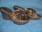 SOMETHIN ELSE FROM SKECHERS WEDGE SANDALS WITH COPPER SEQUINS BEAUTIFUL