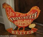 Large Metal Fried CHICKEN Rooster SIGN*Primitive/French Country Farmhouse Decor