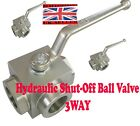 3WAY Hydraulic High Pressure Ball Valve shut off lever valve crank VARIOUS SIZE