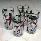 Set of 4 Vintage Mid-century Duck Hunting and Spaniels Glass Tumblers