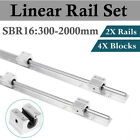 2pcs Sbr16 300-2000mm Linear Slide Guide Shaft Rail4pcs Sbr16uu Block Bearing
