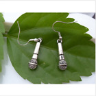 Gothic Metal Silver Plated Musical Microphone Charm Earrings