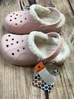 NWT Crocs Girls Youth Sherpa Faux Fur Winter Lined Cotton Candy Pink Feat Size 2