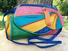 Vintage Multi Color Embossed Leather Patchwork Handbag BOHO CHIC Flap Purse EUC
