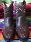 Ash Italia Western Style Booties Brand New Pewter Toned Studs Zippered Up The S