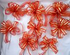 SET OF 8 LARGE 8 WIDE RED W GOLD STRIPES CHRISTMAS TREE BOWS