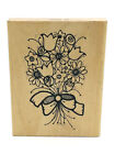Hooks Lines Inkers Large Rubber Stamp Flower Bouquet Rose Tulip Daisy Spring