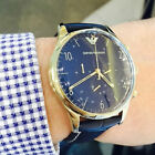 EMPORIO ARMANI AR1862 Classic Chronograph Blue Leather Gold-Tone Men's Watch