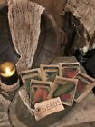 Primitive Bowl Fillers Spring Garden Seed Packs Cupboard Tuck SIX Seed Packets