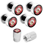 Motorcycle Polished Aluminum License Frame Tag Bolts + Valve Caps - Fire Fighter