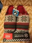 Isotoner Womens Grey and Red Snowflake Knit Fleece Clog Slippers Shoes 85 9