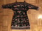 White House Black Market Black Floral Dress w Cut out Sleeves Size M