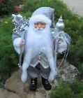 Silver SANTA CLAUS Figurine*Merry Christmas Sign*Primitive/French Country Decor