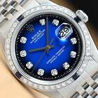 MENS ROLEX DATEJUST 18K WHITE GOLD & STAINLESS STEEL BLUE VIGNETTE DIAMOND WATCH