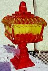 Vintage Jeannette Glass Amberina Covered Candy Dish Footed Compote Wedding w Lid