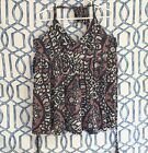 Old Navy Womens Sz XXL 2x Plus Print Halter Top Shirt Boho Floral Blue Red