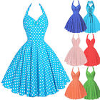 Vintage Style Polka Dot Swing Dress 50s HOUSEWIFE Summer Pinup Party Dress Z