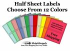 Colored Shipping Labels 8.5x5.5 Half Sheet Self Adhesive Ebay Paypal Usps Stamps