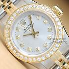 ROLEX LADIES SILVER DIAMOND OYSTER PERPETUAL 18K YELLOW GOLD & STEEL WATCH