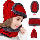 Winter Wool Skiing Knitting Outdoor Sports Beanie Hat +Circle Scarf+ Mask Gifts