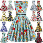 Vintage Womens Hepburn Style Swing Pinup Cocktail Party Evening Picnic Dresses