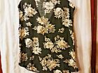 NWT Old Navy Ladies XL gray floral sleeveless rayon blouse shirt FREE SHIP