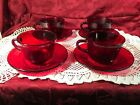Vintage Lot of 4 Royal Ruby by Anchor Hocking Cups and Saucers