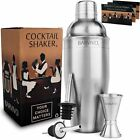 Professional Cocktail Shaker Set w a Double Jigger 2 Liquor Pourers by Barvivo