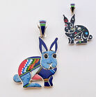 FUNKY HANDMADE RABBIT PENDANT IN TURQUOISE MULTICOLOR INLAY IN 925 SILVER