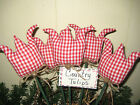 5 Country Red Gingham fabric handmade Tulips Farmhouse Home Decor