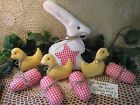 Country Rabbit red gingham fabric eggs chicks Farmhouse Easter Home Decor