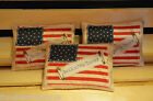 3 Grungy Stuffed AMERICANA FLAG Pillow Ornies Fillers Tucks Primitive Folk Art