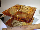 Art Deco Orange amber large glass ashtray 78 glass with hobnail textured