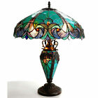 Table Lamp Tiffany Style 4 Light Green Amber Jewel Stained Glass Shade 245 H