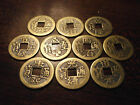 China Empire 10 Coin Brass Lot all Different Emperors 22 23mm
