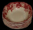 7 JOHNSON BROTHERS Strawberry Fair Pattern Square Cereal Bowls