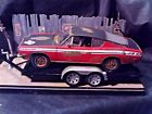 118 Scale Diecast 2 pcsetWeathered Rusted69 Plymouth Barracuda+Car Trailer
