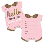 Hello Little One Pink  Gold Shaped Fill In Invite Girl Baby Shower Invite 12 Ct