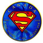 2016 Colorized Superman Canadian Maple Leaf 1oz 5 Fine Silver Coin Man of Steel